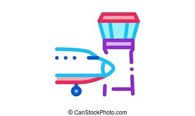 air plane navigation center tower Icon Animation. color air plane navigation center tower animated icon on white background