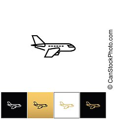 Air plane pictogram, jet or aeroplane vector icons on black,...