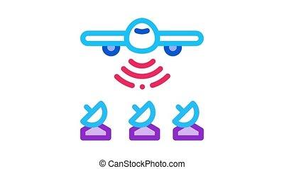 air plane radar animated icon on white background