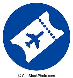 air plane ticket blue icon