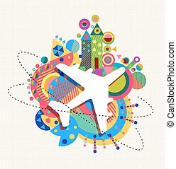 Air plane travel icon concept with color shapes