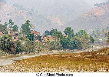 Air pollution and dryness - Landscape photo of river and...