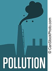 Air pollution banner. Factory with smoke stack