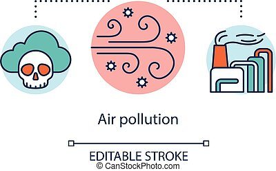 Air pollution concept icon. Spread of toxic smoke by wind. Anthropogenic impact on atmosphere. Smog and CO2 emission idea thin line illustration. Vector isolated outline drawing. Editable stroke