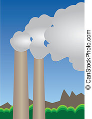 Air pollution - Vector Illustration of factory Air...