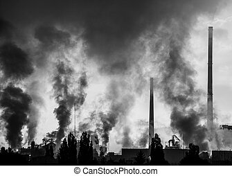 Air pollution (factory Mondi in city Ruzomberok, Slovakia)