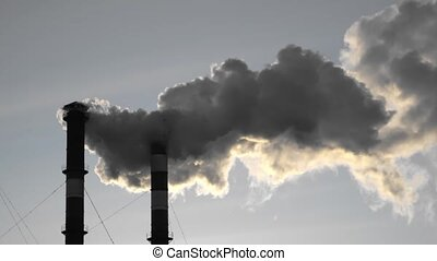 Air pollution from industrial plant pipes