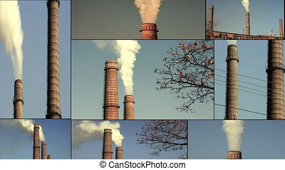 Air Pollution From Industrial Plants. Pipes Throwing Smoke...