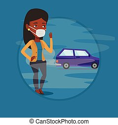 Air pollution from vehicle exhaust. - African woman standing...