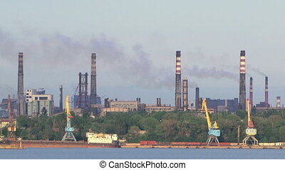 Air Pollution Generated By Oil Refinery Plant Near River -...