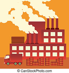 Air pollution. - Industrial complex with smokestacks blowing...
