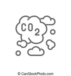 Air pollution, industrial smog, co2 emissions line icon.