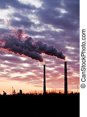 Air pollution - Pollution spewing into the air from...