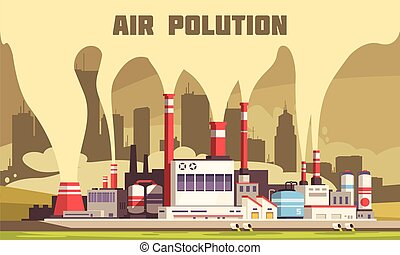 Air pollution flat composition with harmful emissions from tubes of big energy plant vector illustration