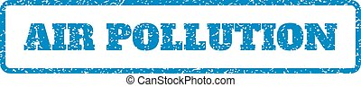 Blue rubber seal stamp with Air Pollution text. Vector caption inside rounded rectangular shape. Grunge design and dust texture for watermark labels. Horizontal emblem on a white background.