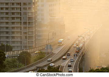 Air pollution scenic with cars on highway and yellow smoke ...
