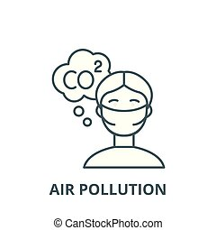 Air pollution vector line icon, outline concept, linear sign
