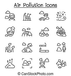 Air pollution, virus crisis, covid-19, corona virus icon set in thin line style