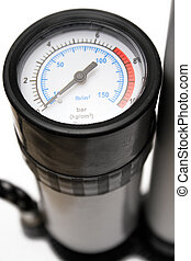 Air Pressure Gauge - Close view on an air pressure gauge of...
