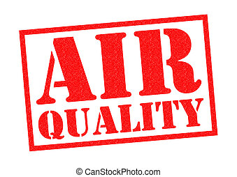 AIR QUALITY red Rubber Stamp over a white background.