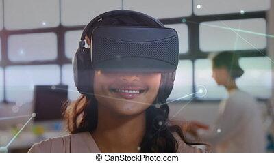 air, quoique, dactylographie, femme, bureau virtuel, casque à écouteurs, porter, réalité