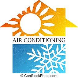 air, refroidissement, symbole, conditionnement, maison