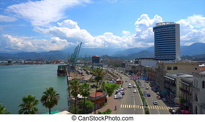 air shot, beautiful view of the port on the Black Sea, palms...