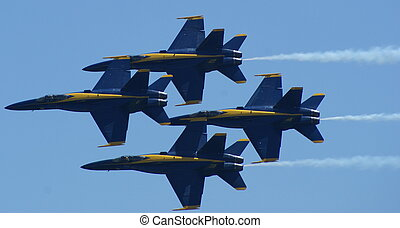 Air Show - The Navy/Marines FA 18 Hornet Jets at the air...