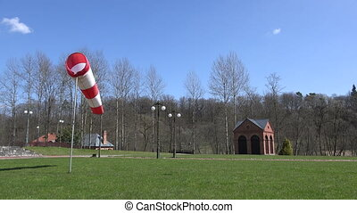 air sleeve windsock show direction of wind blowing near...
