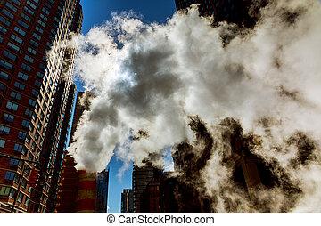 air steam, accident, repairhot air into the street in Midtown Manhattan.