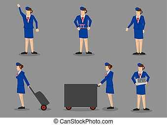 Air Stewardess  Icon Set