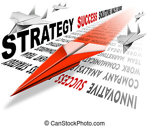 Air strategy success - Plane red Paper on the track consists...