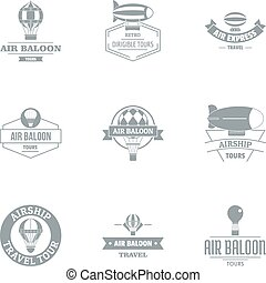 Air tank logo set, simple style