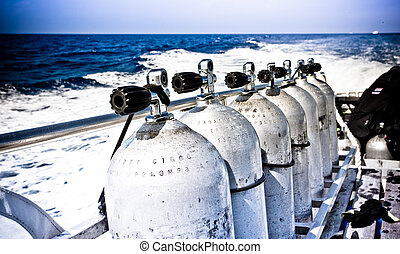 Air tanks and breathing apparatus on a boat