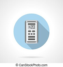 Air temperature control round flat vector icon