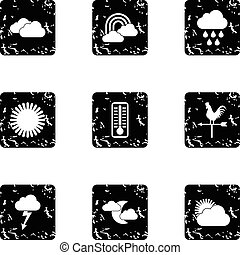 Air temperature icons set, grunge style