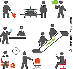 Air terminal icons. Vector set