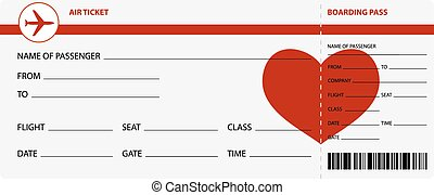 Blank Plane Tickets For Romantic Trip Isolated On White Background Vector Illustration