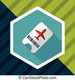 Air ticket flat icon with long shadow