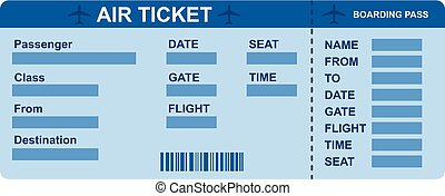 Air ticket icon, flat style