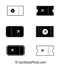 air ticket set illustration on white background