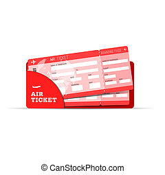 air ticket travel sign in red illustration