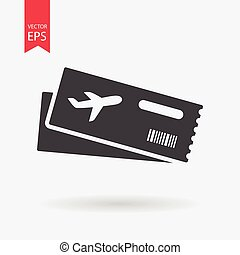 Air ticket vector icon. Modern Airline boarding pass tickets isolated on white Two airplane tickets. Travel symbol. Flat design style