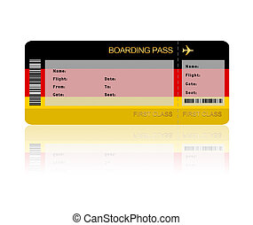 air ticket with Germany flag isolated over white background