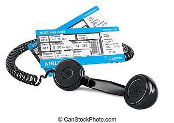 Air Tickets Booking concept, 3D rendering