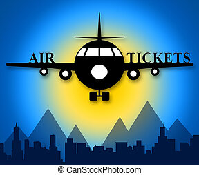 Air Tickets Means Plane Booking 3d Illustration