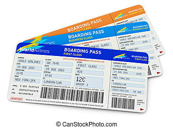 Air tickets - Air business travel transportation concept:...