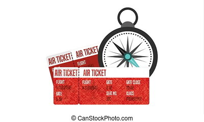 air tickets with compass guide ,hd video animation