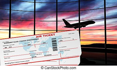Air tickets with sunset and airplane silhouette as...