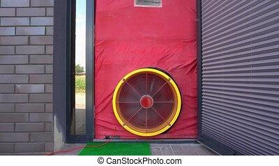 Air tightness test. Blower door test. Passive house...